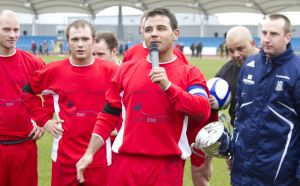 Chris fountain Bradford actor Coronation Street celebraring the 4 -1 win sm.jpg