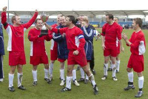 Chris fountain Bradford actor Coronation Street far left celebrating the 4 - 1 win over Emmerdale sm.jpg