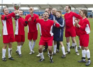 Chris fountain Bradford actor Coronation Street holding the cup celebrating the 4 -1 win sm.jpg