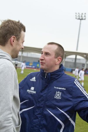 Gavin Blyth Memorial Cup Feb 19 2011 Andrew Whyment tells Tom Lister we are going to win sm.jpg