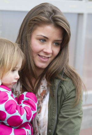 Gavin Blyth Memorial Cup Feb 19 2011 Brooke Vincent cuddles Jack Shepherds Daughter 2 year old Nyla image 3 sm.jpg