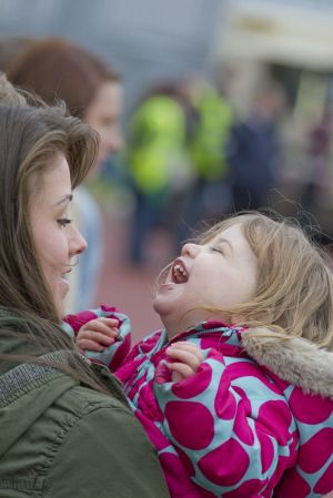 Gavin Blyth Memorial Cup Feb 19 2011 Brooke Vincent cuddles Jack Shepherds Daughter 2 year old Nyla sm.jpg