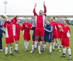 Gavin Blyth Memorial Cup Feb 19 2011 celebrating the win Coronation st 4 -1 sm.jpg