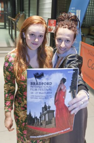 Hallie Switzer daughter and Ingrid Veninger outside pictureville foyer entrance march 22 2011  image 3 sm.jpg