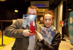 tony earnshaw and Ingrid Veninger outside pictureville foyer entrance march 22 2011 image 1 sm.jpg