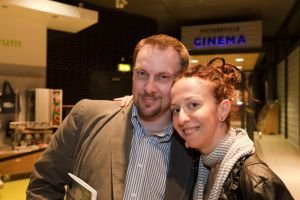 tony earnshaw and Ingrid Veninger outside pictureville foyer entrance march 22 2011 image 2 sm.jpg