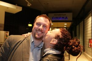 tony earnshaw and Ingrid Veninger outside pictureville foyer entrance march 22 2011 image 3 sm.jpg