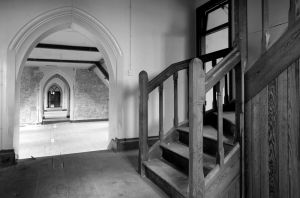 St Benedicts Convent Dumfries attic stairs bw sm.jpg
